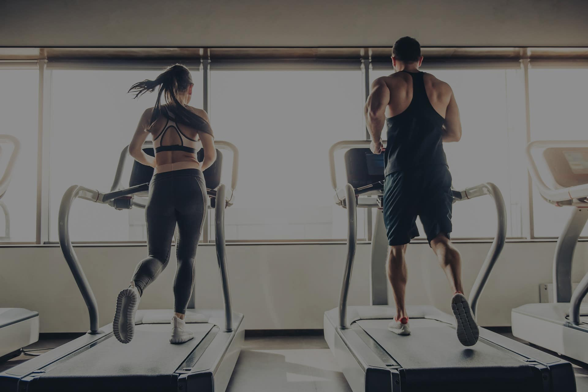 Runners on a treadmill